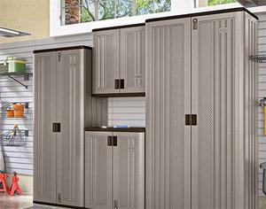 Suncast Tall Plastic Storage Cabinet, Locker-Style