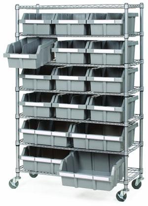 16-Bin, 7-Shelf Bin Organizer System