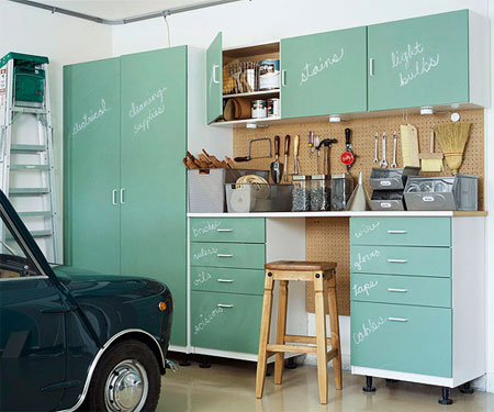 Chalkboard Painted Cabinets In The Garage
