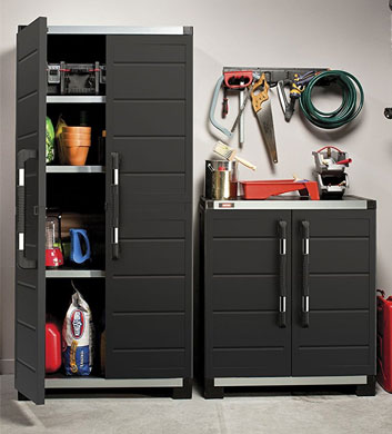 Keter Garage Cabinets Made from Durable Polypropylene Resin and Steel Reinforcement