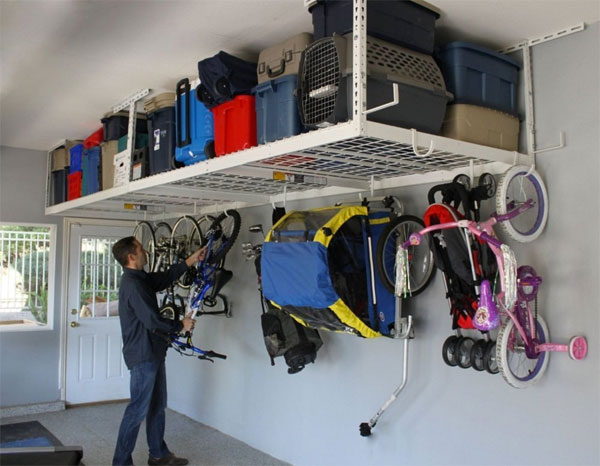 Garage Overhead Storage System with Racks and Hooks