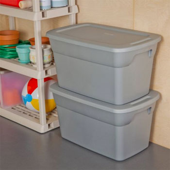 Stackable Storage Tubs in Garage