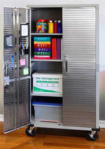 Interior Adjule Shelves Of The Tall Metal Storage Cabinet